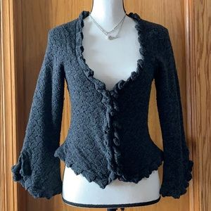 Guinevere Anthropologie gray wool cardigan sz sm